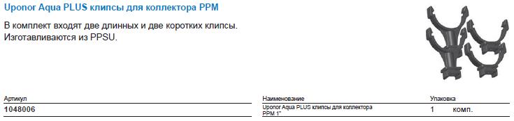 Uponor Aqua PLUS клипсы для коллектора PPM