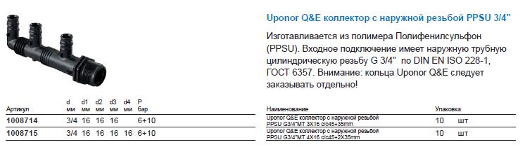 Uponor Q&E коллектор с наружной резьбой PPSU