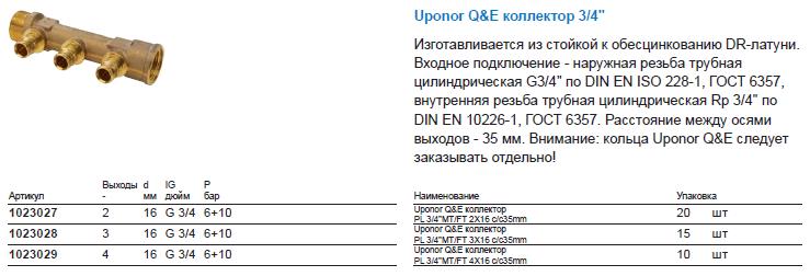 Uponor Q&E коллектор 3/4