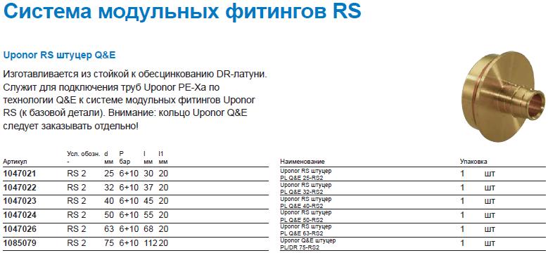 Uponor RS штуцер Q&E