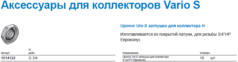 Uponor Uni-X заглушка для коллектора