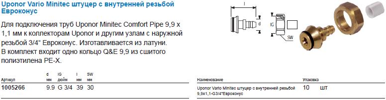 Uponor Vario Minitec штуцер с внутренней резьбой