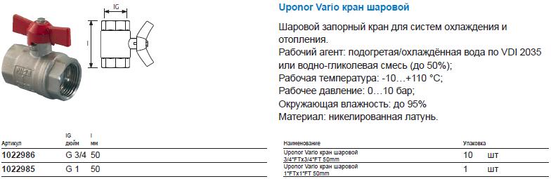 Uponor Vario кран шаровой
