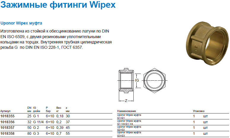 Uponor Wipex муфта