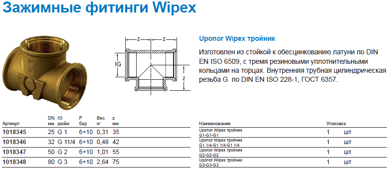 Uponor Wipex тройник