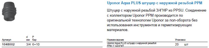 Uponor Aqua PLUS штуцер с наружной резьбой PPM