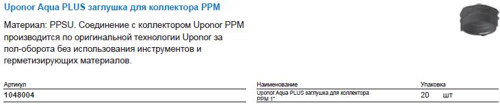 Uponor Aqua PLUS заглушка для коллектора PPM