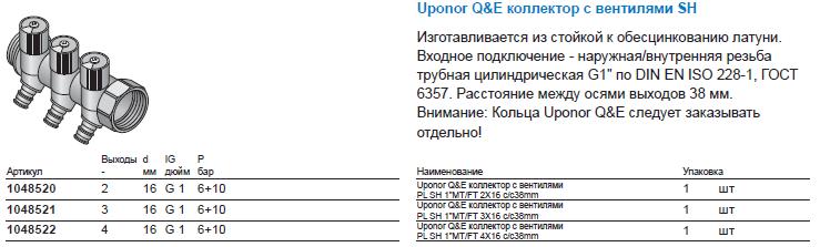 Uponor Q&E коллектор с вентилями SH