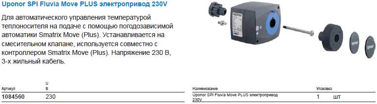 Uponor SPI Fluvia Move PLUS электропривод 230V