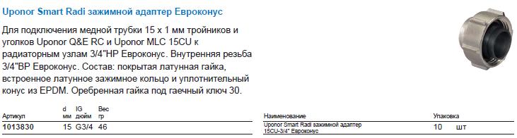 Uponor Smart Radi зажимной адаптер Евроконус