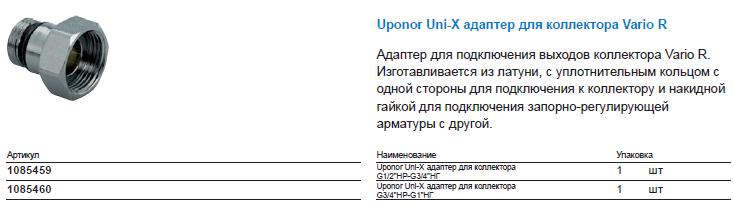 Uponor Uni-X адаптер для коллектора Vario R