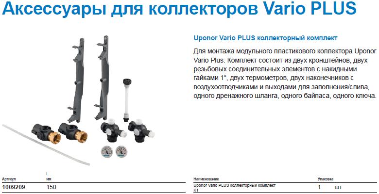 Uponor Vario PLUS коллекторный комплект
