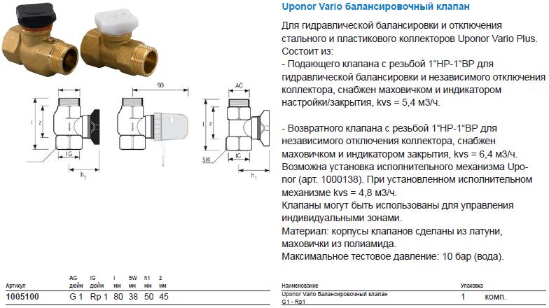Uponor Vario балансировочный клапан