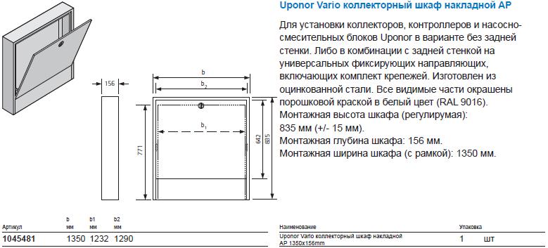 Uponor Vario коллекторный шкаф накладной AP
