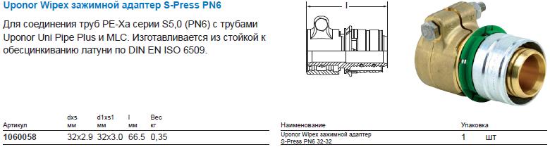Uponor Wipex зажимной адаптер S-Press